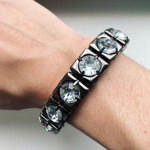 Flashy gunmetal & diamond bangle bracelet